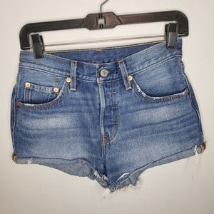 Levi's 501 High Rise Cut Off Denim Shorts